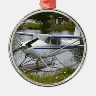 White, navy & grey float plane, Alaska Metal Ornament