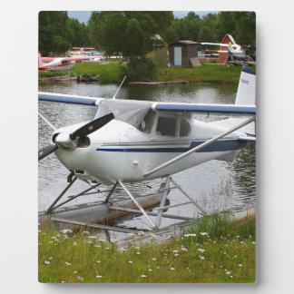 White, navy & grey float plane, Alaska Plaque