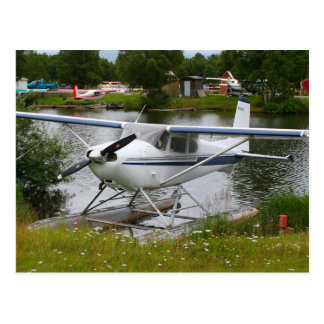 White, navy & grey float plane, Alaska Postcard