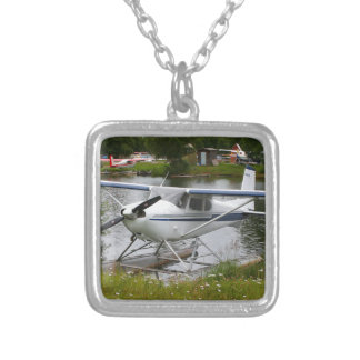 White, navy & grey float plane, Alaska Silver Plated Necklace