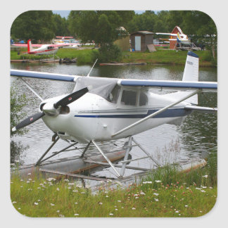 White, navy & grey float plane, Alaska Square Sticker