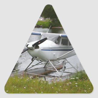 White, navy & grey float plane, Alaska Triangle Sticker