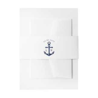 White | Navy Nautical Wedding Monogram Invitation Belly Band