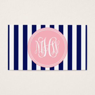 White Navy Vert Stripe 6x Pnk Vine Script Monogram Business Card
