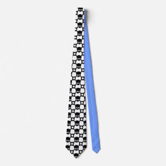 White Necktie with Skull and Bones