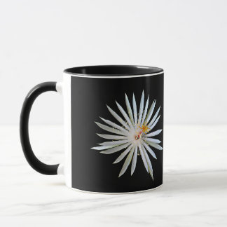 White Night Blooming Cactus Flower on Coffee Mug