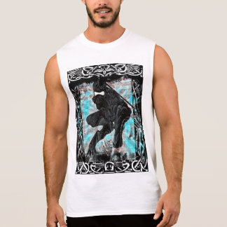 White Ninja Print Sleeveless Shirt