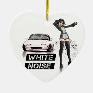 White Noise MX5 Miata Ceramic Heart Ornament