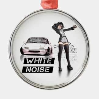 White Noise MX5 Miata Silver-Colored Round Ornament