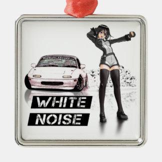 White Noise MX5 Miata Silver-Colored Square Ornament