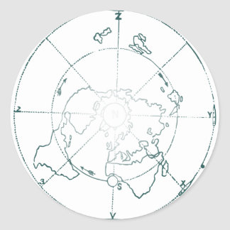 White North Pole AE Map Classic Round Sticker