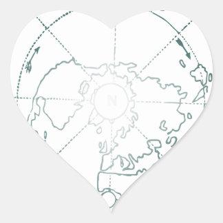 White North Pole AE Map Heart Sticker