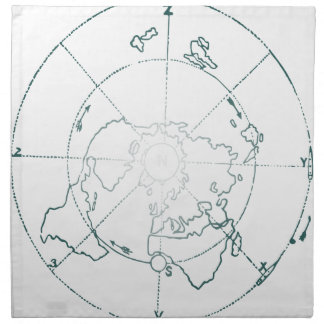White North Pole AE Map Napkin