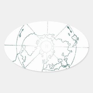 White North Pole AE Map Oval Sticker
