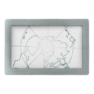 White North Pole AE Map Rectangular Belt Buckle