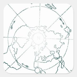 White North Pole AE Map Square Sticker