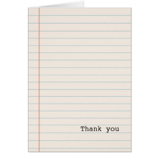 White Notebook Paper Card