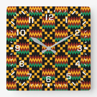White Numbers / Africa Kente Cloth Square Wall Clock