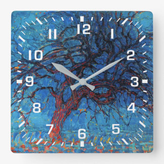 White Numbers / Piet Mondrian, Evening: Red Tree Square Wall Clock