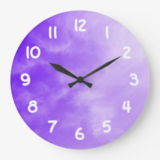 White Numbers Purple Sky Wall Clock