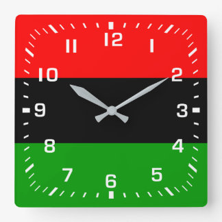 White Numbers / Red, Black, Green Pan African Flag Square Wall Clock