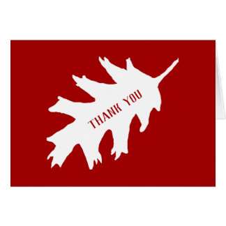 White Oak Leaf On Red Thank You Card