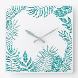 White Ocean Blue Tiffany Palm Tree Beach Home Square Wall Clock