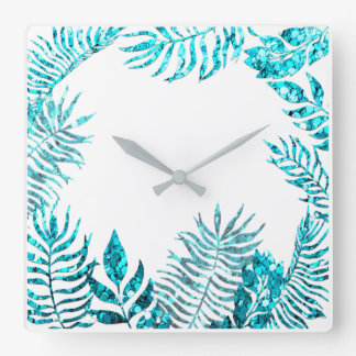White  Ocean Blue Turquoise Palm Tree Beach Home Square Wall Clock