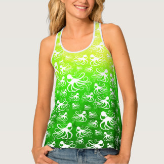 White Octopus on Yellow Green - Racer Back Tank Top