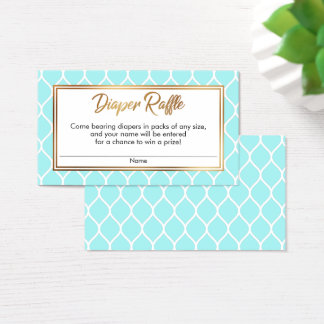White Ogee & Gold Foil, Aqua Diaper Raffle Tickets