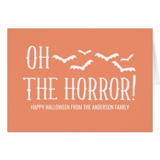 White Oh The Horror Halloween Greeting Card