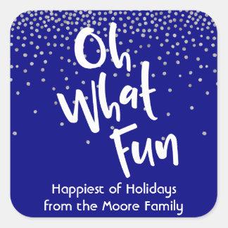 White Oh What Fun w/ Navy & Silver Confetti Square Sticker
