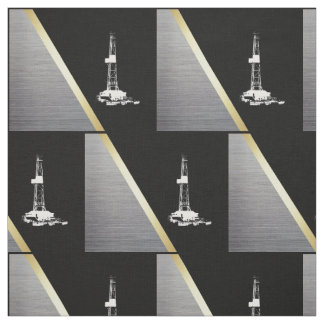 White Oil Drilling Rig on Black with Silver/Grey Fabric
