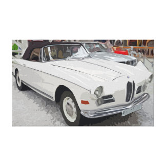 White Old Classic Cabriolet Car Simple Canvas