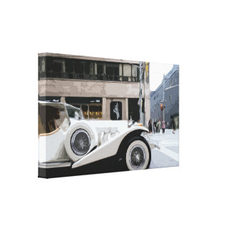 White Old Vintage Classic Luxury Car Canvas