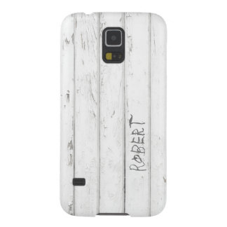 White Old Wood with Engraved Name Case For Galaxy S5