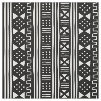 White on Black African MudCloth Inspired Scalable Fabric