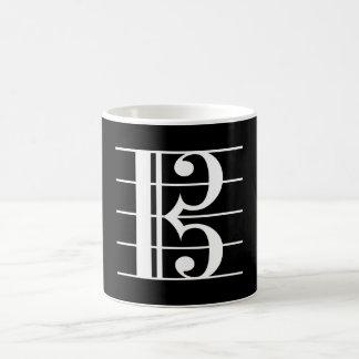 White-on-Black Alto Clef Coffee Mug