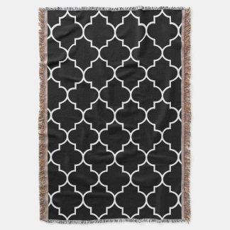 White on Black Background Moroccan Quatrefoil Throw Blanket