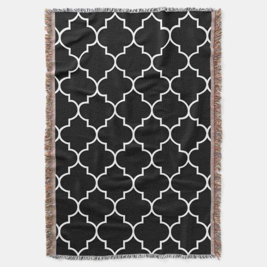 White on Black Background Moroccan Quatrefoil Throw Blanket