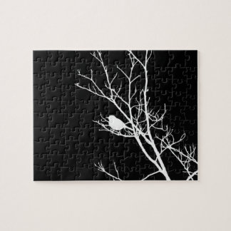 White On Black Bird Silhouette - Jigsaw Puzzle