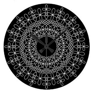 White on Black Celtic Knot Mandala 1 Wall Clock