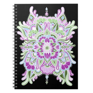 White on Black Colored Mandala Notebook