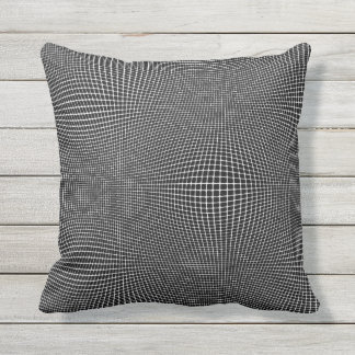 White on Black Curved Space Outdoor Pillow