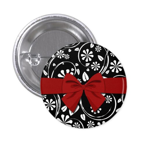 White on Black Daisy Flower Pattern Pinback Buttons