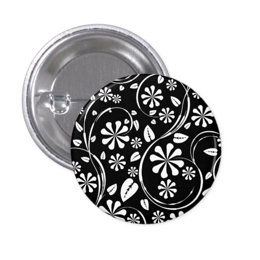 White on Black Daisy Flower Pattern Button