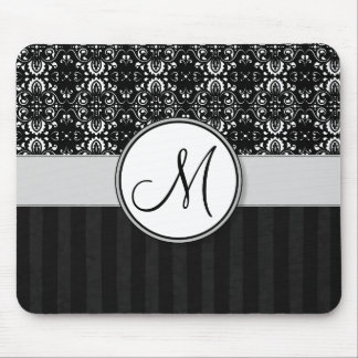 White on Black Damask and Stripes with Monogram Mouse Pad