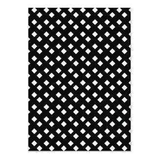 "White on Black Diamond Design 5"" X 7"" Invitation Card"