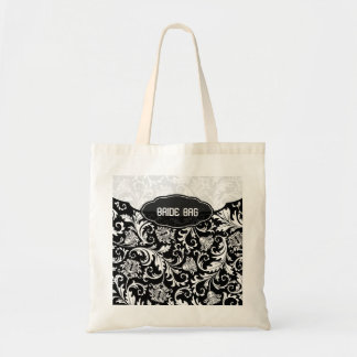 White On Black Floral Damask Pattern 2-Monogram Tote Bag