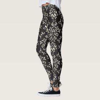 White On Black Floral Damasks Pattern Leggings
